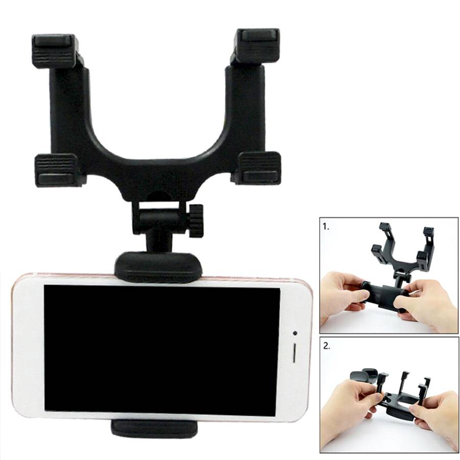 Universal 360° Car Rearview Mirror Mount Stand Holder Cradle For Cell Phone GPS Car Rear View Mirror Holder