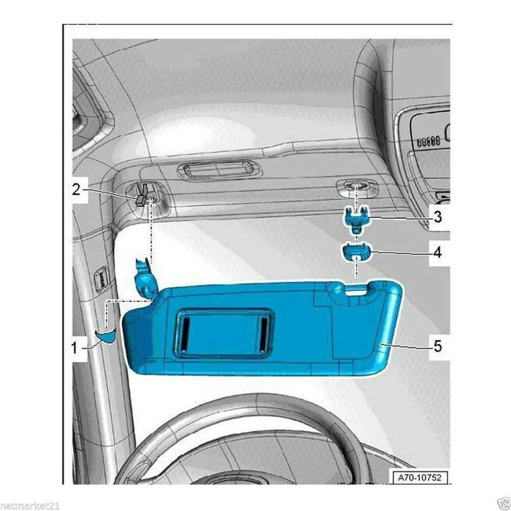 For Audi A1 A3 A4 A5 Q3 Q5 Q7 Grey Car Interior Sun Visor Hook Clip Bracket