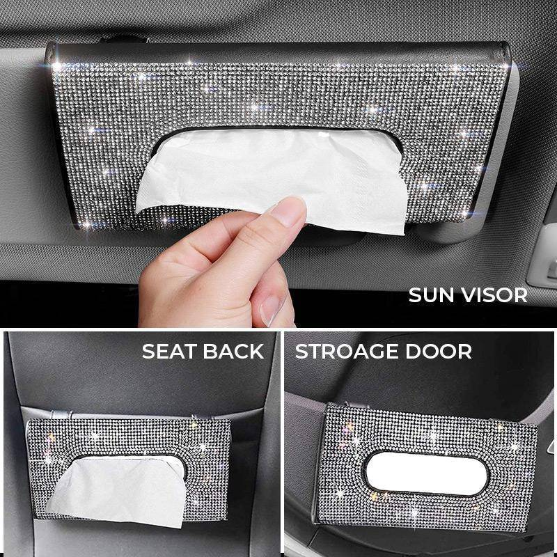 1 pcs Car Styling Interior Cute Tissue Box Paper Case with Crystal Diamond Pu Car Interior Decoration Accessories DropShipping