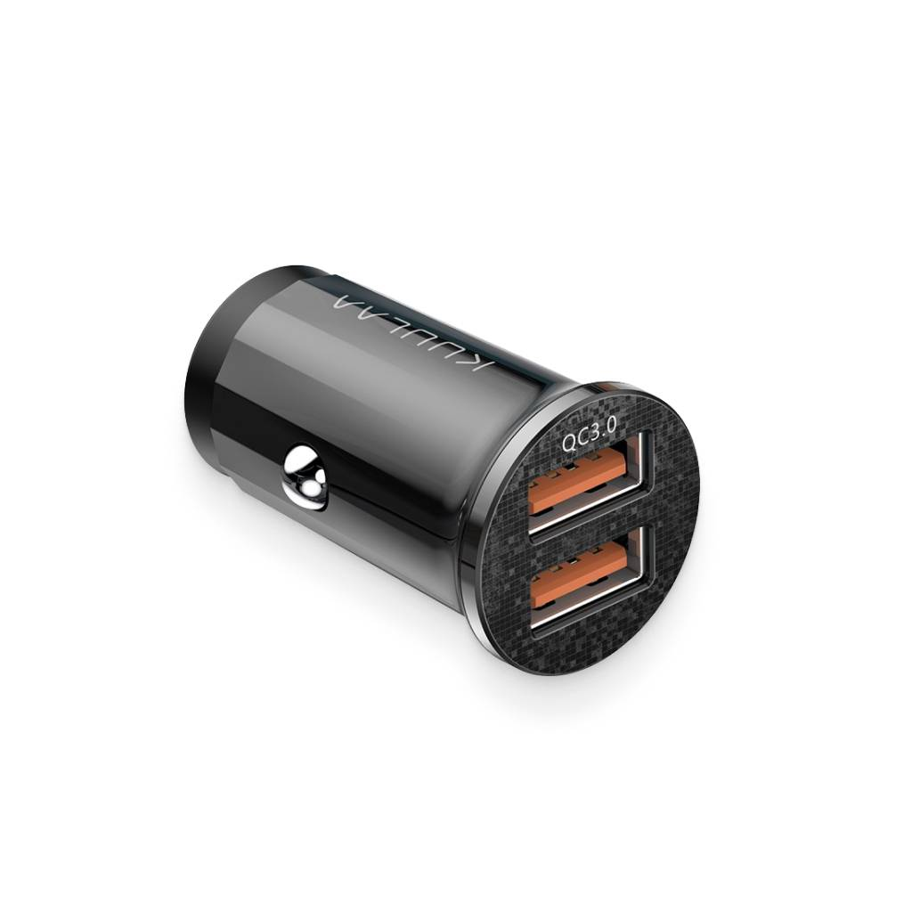 Black Quick-Charge Dual-USB Charger Port Car Accessories
