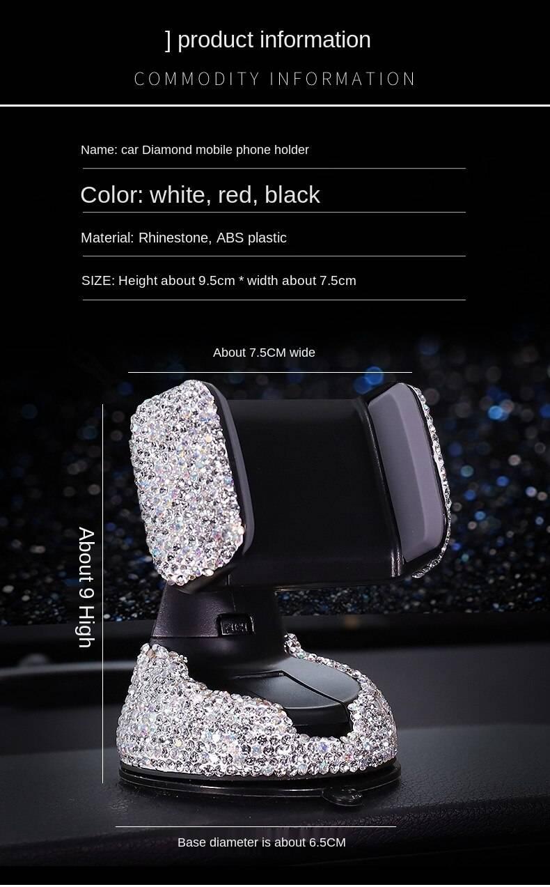 Crystal rhinestone 360 degree car phone holder for car dashboard, car windows and general air ventilation car phone holder Car Accessories