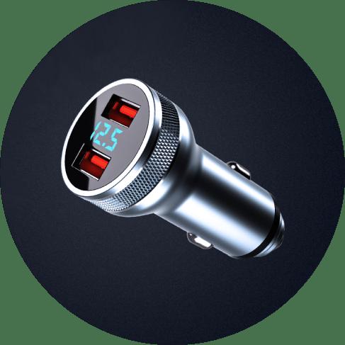 Intelligent Digital Volt Dual USB Charger Port Car Accessories Charger Port